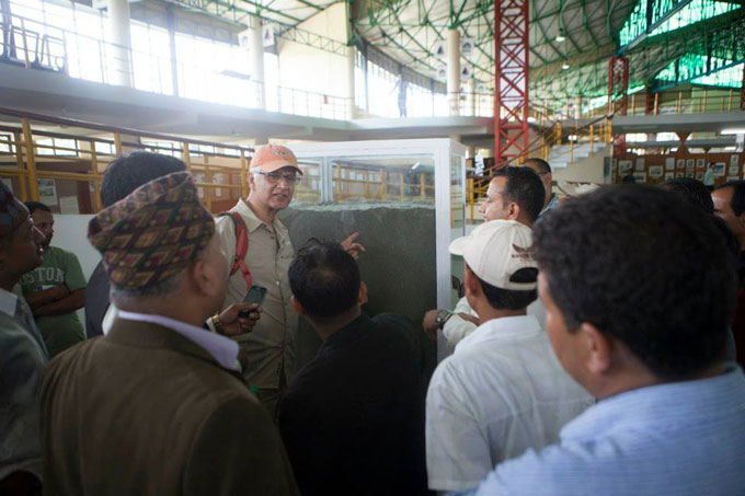 Kunda Dixit Editor of Nepali Times gives local press a guided tour. Photo: Shikhar Bhattarai