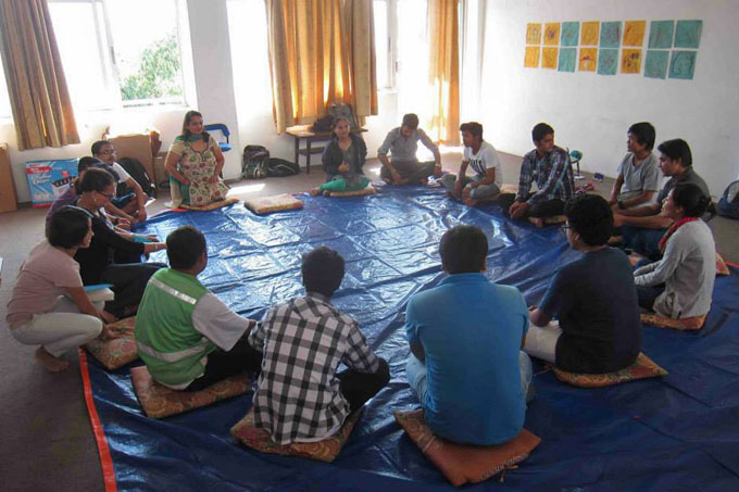 The goal of the training was to prepare participants to run art workshops with reusable materials in a way that facilitates each child's creative expression. Photo: Sanjeev Maharjan