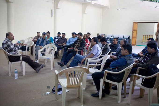 Local media in Pokhara interact with Navin Singh Khadka, environment journalist, BBC World Service on 'climate change and the role of media'. Photo: NayanTara Gurung Kakshapati