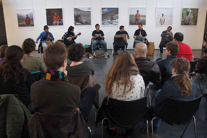 Kutumba performance at A Weathered People exhibition venue at Maison des Metallos, Paris. Photo: Arun Gurung